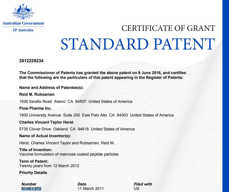 Patent cetrificate